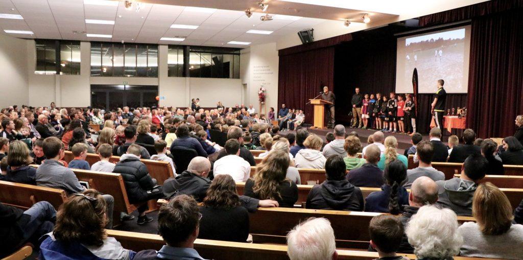 Photo of prizegiving audience in auditorium